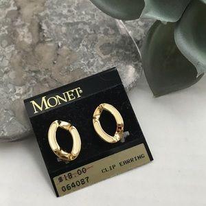 Monet Oval Gold Ivory Enameled Clip On Earrings